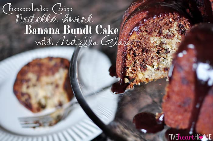 Chocolate Chip Nutella Swirl Banana Bundt Cake with Nutella Glaze  |  {Five Heart Home}