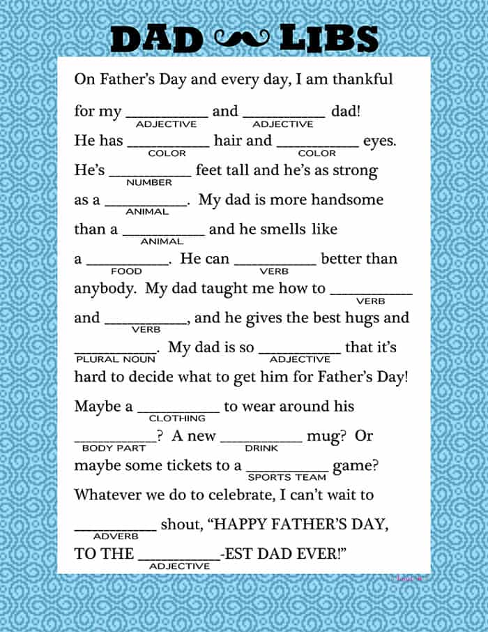 Dad Libs ~ a fun, free printable to celebrate your favorite dad on Father's Day! | FiveHeartHome.com