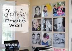 Family Photo Wall ~ Gallery of 20-inch Square Frames | {Five Heart Home}