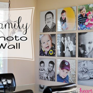 This Family Photo Wall, featuring a stunning gallery of 20-inch square frames, is a great way to showcase memories and sure to be the focal point of any room!