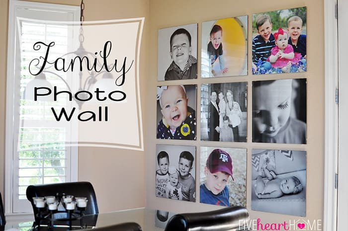 Family Photo Wall with text overlay