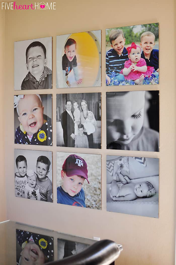 Family Photo Wall using 20-inch glass clip frames