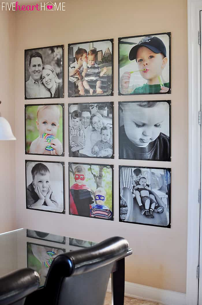 Family Photo Wall Gallery Of 20 Inch Square Frames