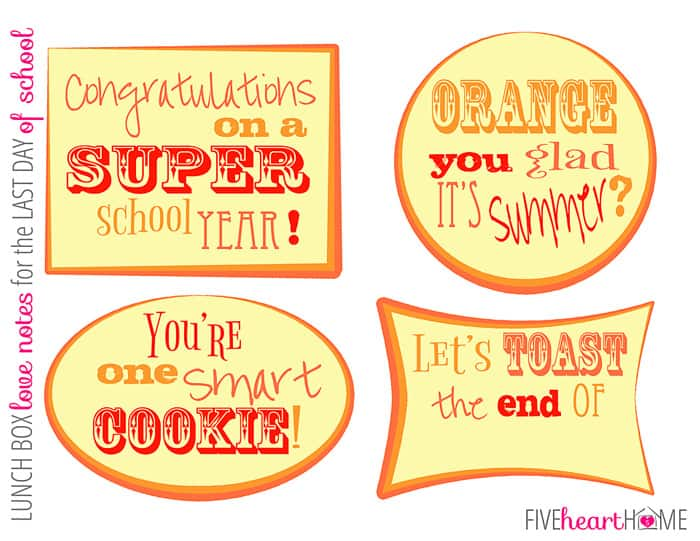 Lunchbox Love Notes are the perfect free printable to make your child's lunch extra special on the last day of school! | FiveHeartHome.com