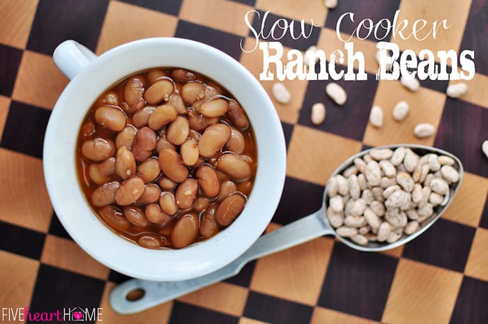 Slow Cooker Ranch Beans | FiveHeartHome.com