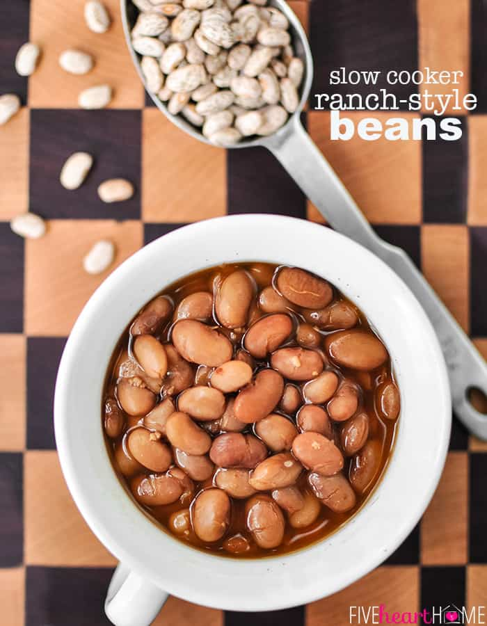 Slow Cooker Ranch Style Beans with text overlay
