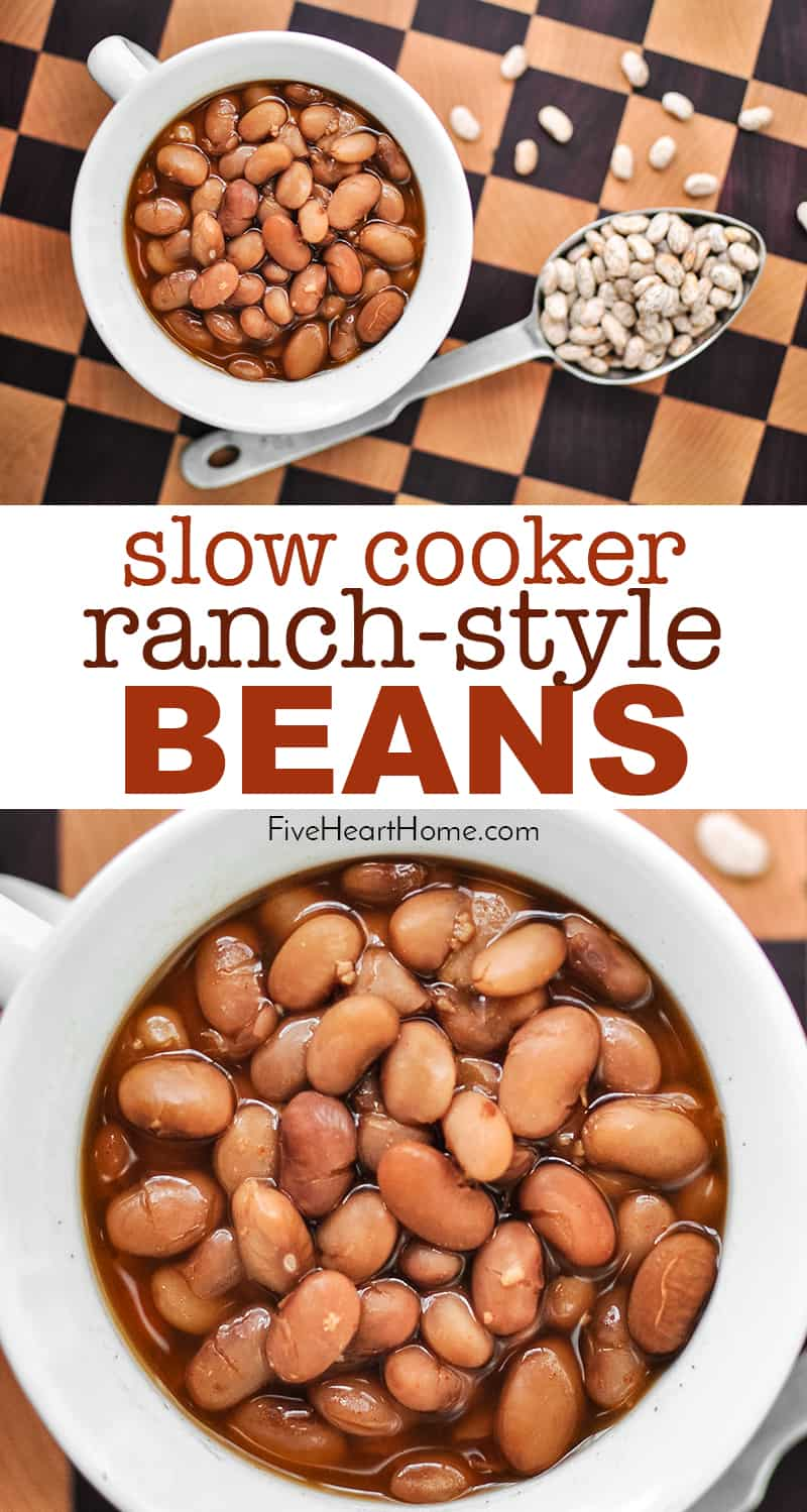 Slow Cooker Ranch Style Beans ~ pinto beans cooked in the crock pot for simple, versatile, delicious ranch beans that are great as a summer side dish with BBQ! | FiveHeartHome.com