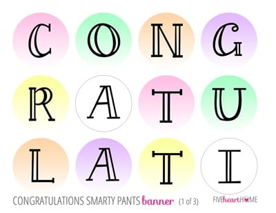photograph about Congratulations Banner Free Printable known as Conclude of College Smarty Trousers Social gathering + Totally free Printable Banner