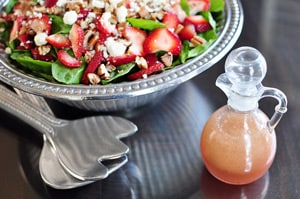 Strawberry Spinach Salad with Feta Cheese, Toasted Pecans, & Blush Wine Vinaigrette