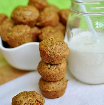 Toddler Approved Veggie Surprise Mini Muffins ~ like a healthy cross between Carrot Cake and Zucchini Bread! | FiveHeartHome.com