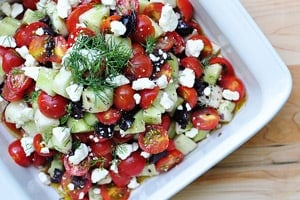 Tomato Cucumber Salad with Olives and Feta | {Five Heart Home}