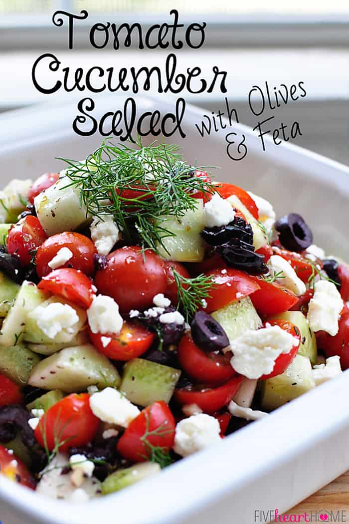 Tomato Cucumber Salad with Olives and Feta   {Five Heart Home}