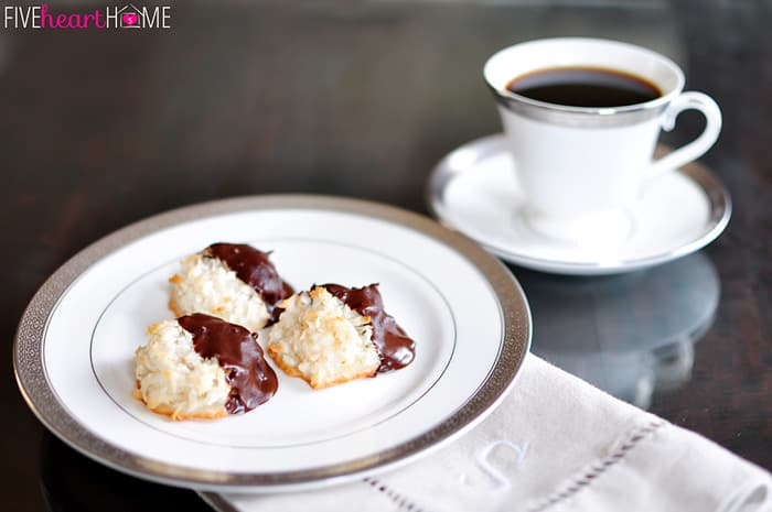 Coconut Macaroons ~ Classic or Chocolate-Dipped   {Five Heart Home}