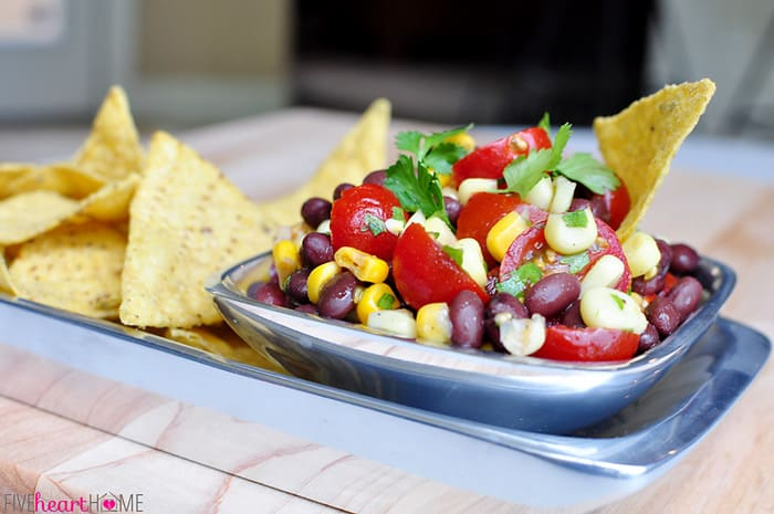"""Corn, Black Bean & Tomato Salad ~ this version of """"Texas Caviar"""" is delicious as a side salad or as a dip with chips 