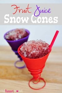 Dye-Free Fruit Juice Snow Cones ~ all natural, no food coloring | {Five Heart Home}