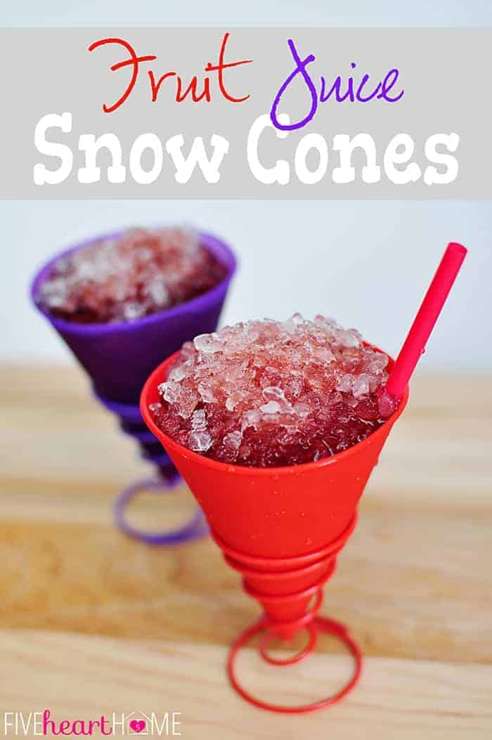 Dye-Free Fruit Juice Snow Cones ~ if you've ever wondered how to make snow cone syrup at home, these homemade snow cones are natural and dye-free...made with real fruit juice and NO Kool-Aid! | FiveHeartHome.com via @fivehearthome
