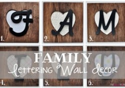 FAMILY Lettering Wall Decor ~ uses picture frames and wooden letters backed with scrapbook paper, which can be swapped out to complement a change in decor, season, or holiday | {Five Heart Home}