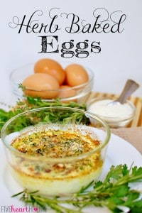 Herb Baked Eggs ~ a taste of Paris, these eggs are coddled in butter and cream before getting topped with a mixture of fresh herbs, garlic, and Parmesan cheese and then hitting the broiler | {Five Heart Home}