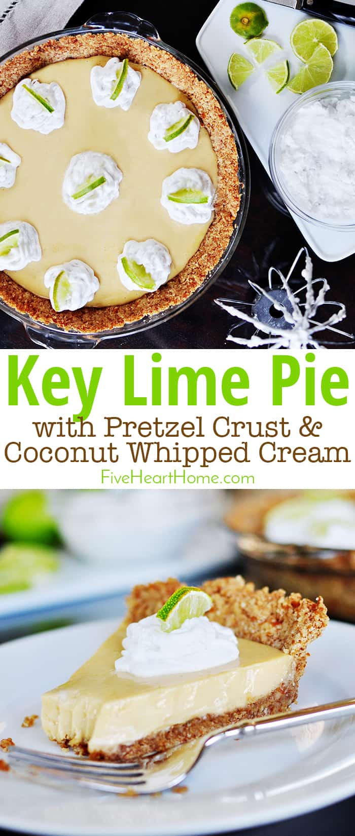 Key Lime Pie with Pretzel Crust & Coconut Whipped Cream, whole pie and slice on a plate