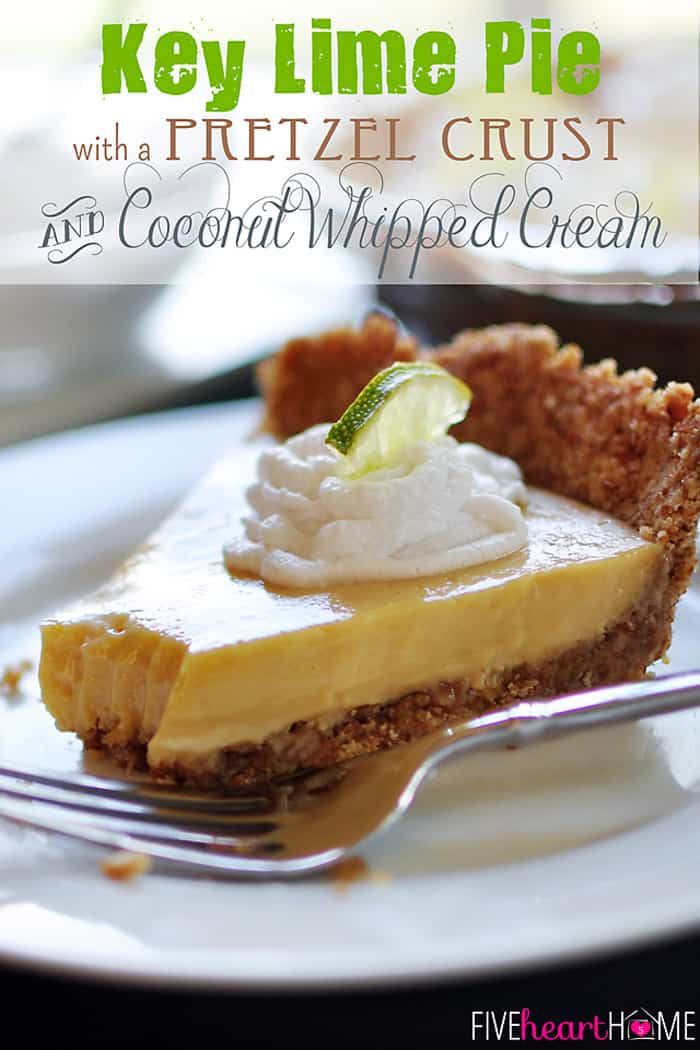 Key Lime Pie with a Pretzel Crust and Coconut Whipped Cream. Top 10 Post Features from Pin It Monday Hop #18
