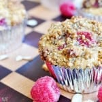 Raspberry Almond Praline Muffins | {Five Heart Home}