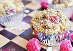 Raspberry Almond Praline Muffins