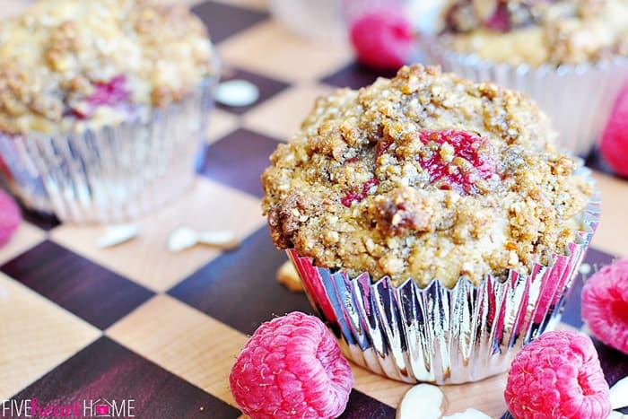 Raspberry Almond Praline Muffins  |  {Five Heart Home}