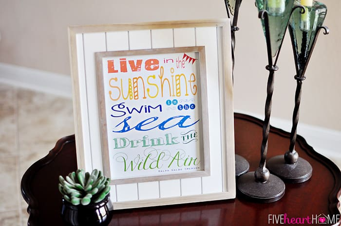 """Live in the Sunshine"" Summertime Quote by Ralph Waldo Emerson ~ Free Printable 