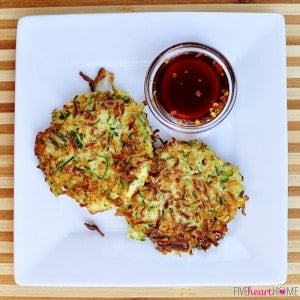 Zucchini Fritters with Asian Dipping Sauce | {Five Heart Home}
