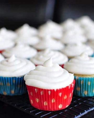 Best Ever Vanilla Texas Sheet Cake Cupcakes with Cream Cheese Frosting   {Five Heart Home}