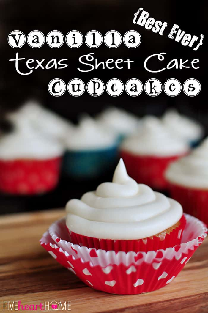 The BEST Yellow Cupcakes ~ this recipe yields the BEST cupcakes, reminiscent of a Texas sheet cake...extremely moist, pleasantly dense, and bursting with vanilla flavor! | FiveHeartHome.com