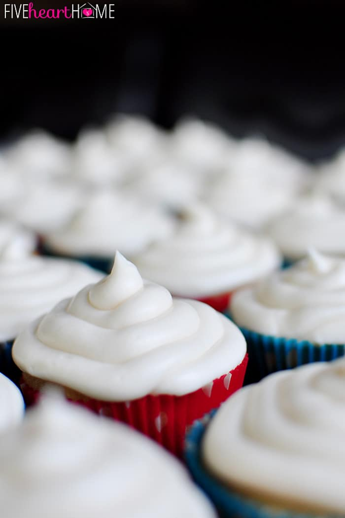 Yellow Cupcakes iced with Cream Cheese Frosting