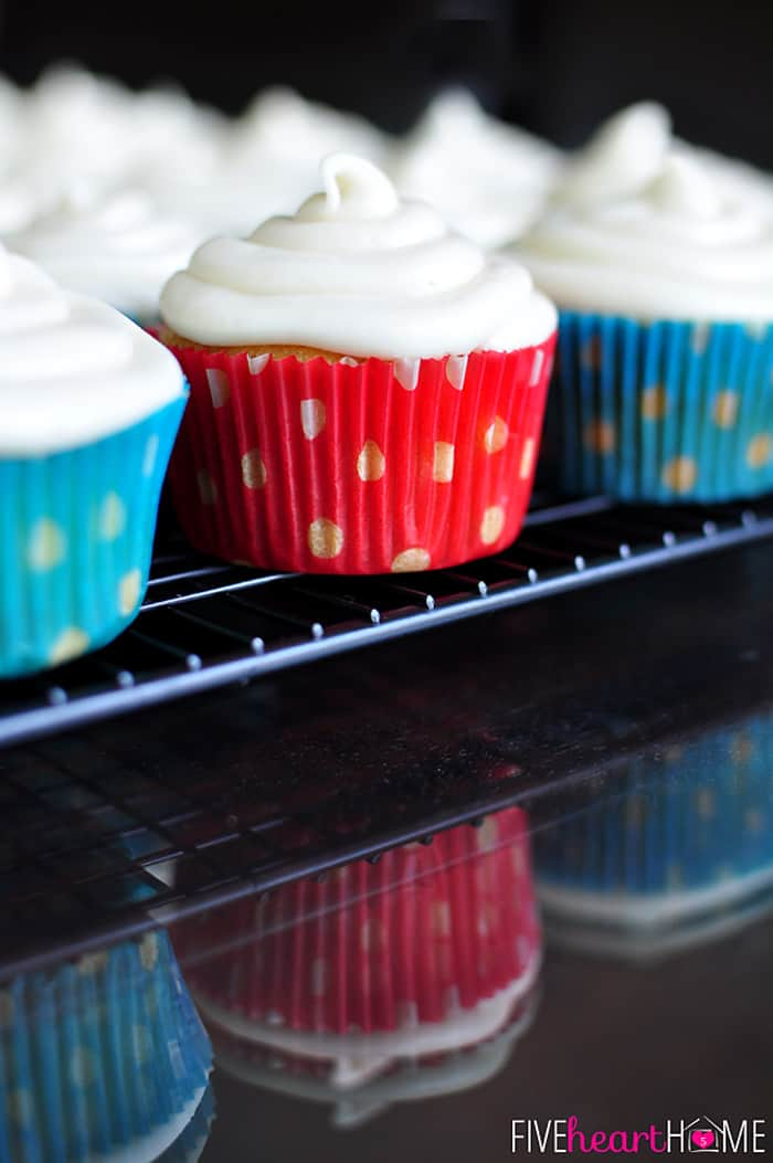 Close-up of cupcakes on a cooling rack