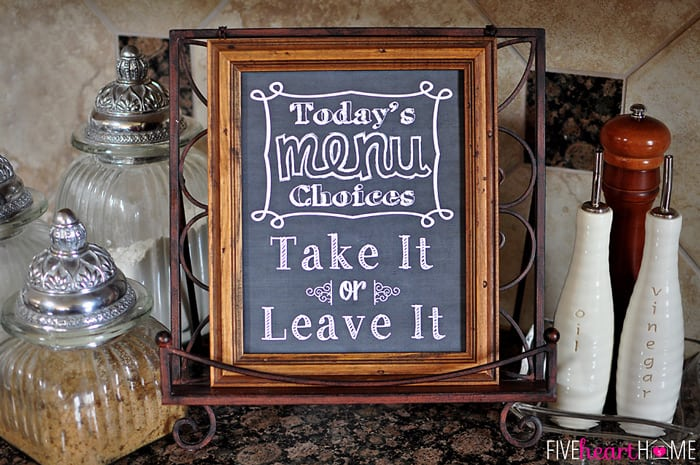 photo relating to Free Printable Kitchen Art named Chalkboard Artwork Kitchen area Estimate: Consider It or Go away It ~ Free of charge