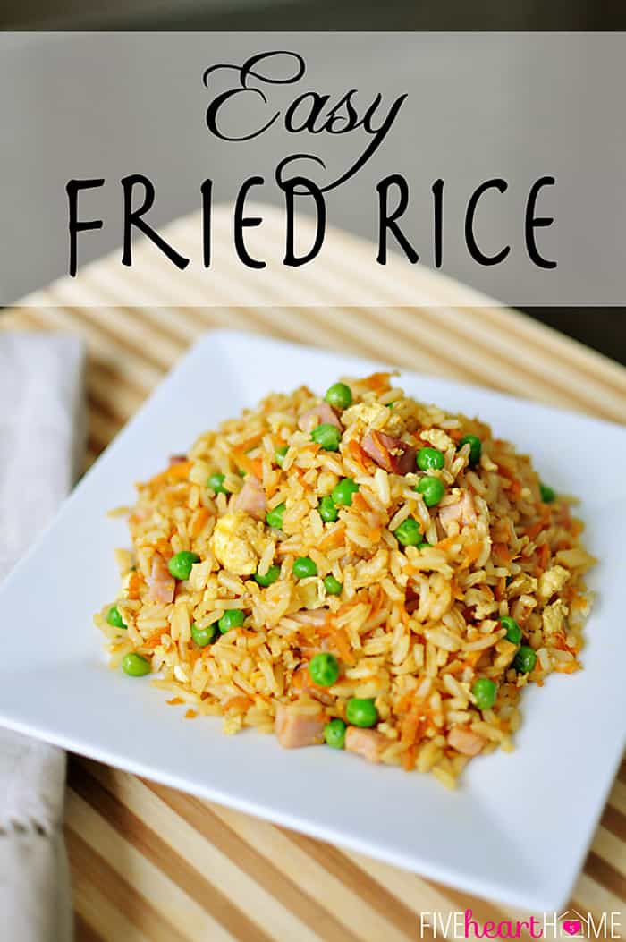 Fried Rice ~ an easy one-pot wonder and a complete meal. You can add your favorite type of meat or whatever leftovers you have on hand...ground or shredded chicken, beef, or pork, diced ham, or even shrimp are all delicious! | FiveHeartHome.com