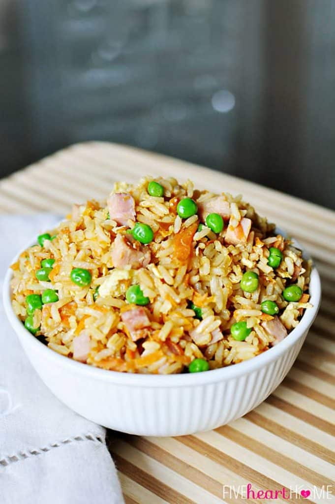 Easy Fried Rice ~ customize with leftover chicken, beef, pork, shrimp, or ham to make a meal of it! | {Five Heart Home}