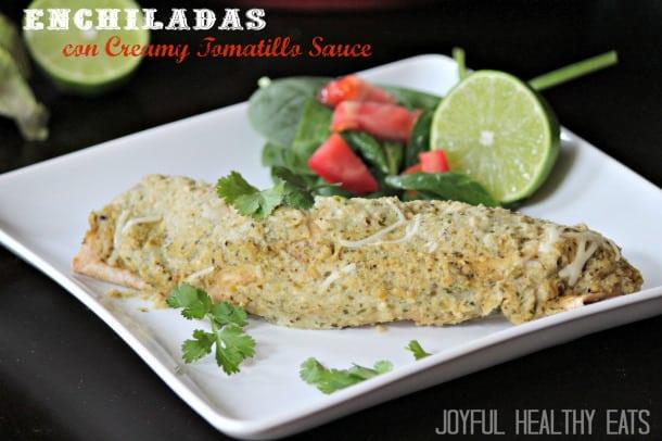Enchiladas con Creamy Tomatillo Sauce