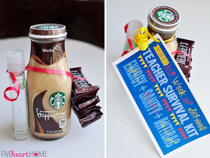 Starbucks frappuccino bottle with mini chocolate bars, hand sanitizer, and printable gift tag tied around it