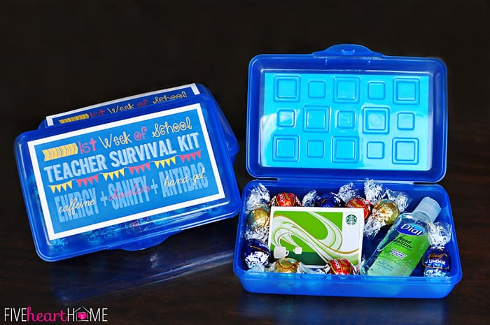 First Week of School Teacher Survival Kit showing printable on top and contents inside