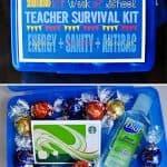 First Week of School Teacher Survival Kit Gift FREE PRINTABLE ~ Energy (caffeine) + Sanity (chocolate) + Antibacterial Hand Gel | {Five Heart Home}