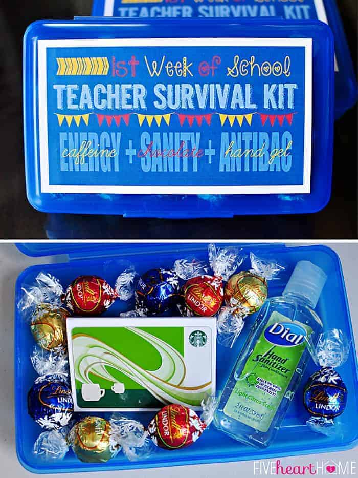 First Week of School Teacher Survival Kit FREE PRINTABLE ~ Energy (caffeine) + Sanity (chocolate) + Antibacterial Hand Gel | {Five Heart Home}
