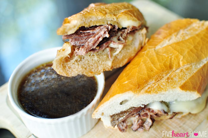 Slow Cooker French Dip Sandwich with Au Jus | {Five Heart Home}
