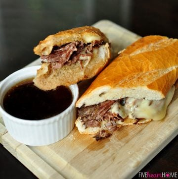 Slow Cooker French Dip Sandwich Au Jus | {Five Heart Home}