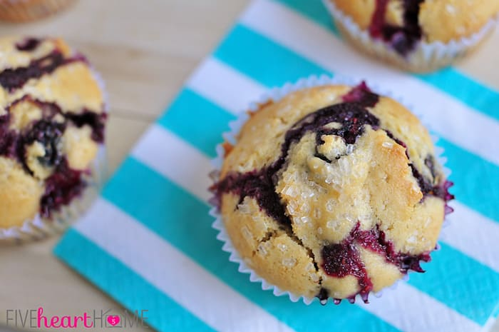 Classic Blueberry Muffins ~ this quick, easy recipe proves that sometimes simple is best! | {Five Heart Home}