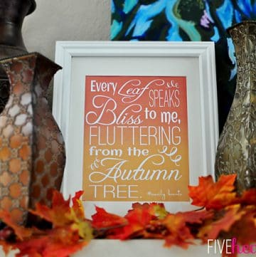 Fluttering Leaves Fall Quote {by Emily Bronte} ~ FREE PRINTABLE!