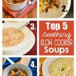 Top 5 Soothing Slow Cooker Soups ~ Crock Pot Recipe Round-Up (Kielbasa and White Bean Stew with Tomatoes and Spinach, Baked Potato Soup, Tomato Basil Parmesan Soup, Vegetable Beef and Barley Soup, and Creamy Green Chile Enchilada Soup) | {Five Heart Home}