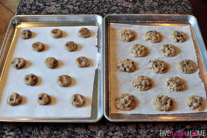 Two pans of cookies made with Cookie Mix, one unbaked and one baked.