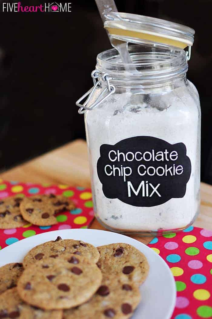 Homemade Chocolate Chip Cookie Mix ~ just add butter, eggs, & vanilla for fresh cookies in a flash! | {Five Heart Home}