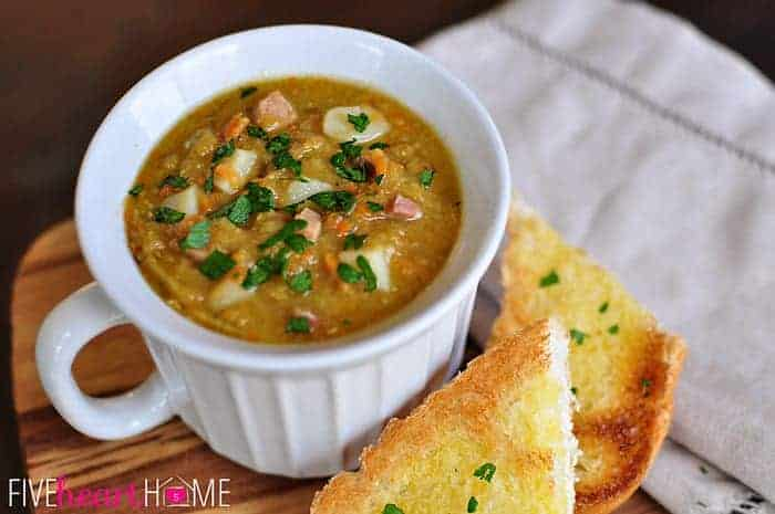 Slow Cooker Split Pea Soup In Handled White Soup Bowl and Toast Points