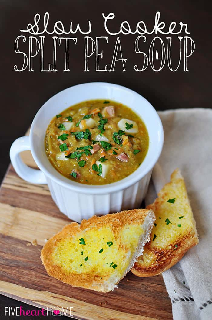 Slow Cooker Split Pea Soup ~ your crock pot does all the work for this warm and comforting soup, made hearty (but not heavy) by the addition of diced ham, potatoes, and carrots | {Five Heart Home}